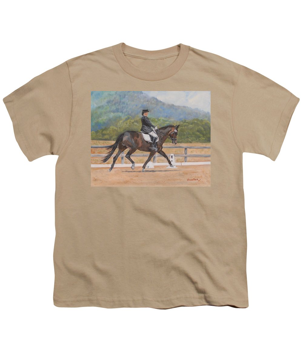 Horse Youth T-Shirt featuring the painting Donnerlittchen by Quwatha Valentine