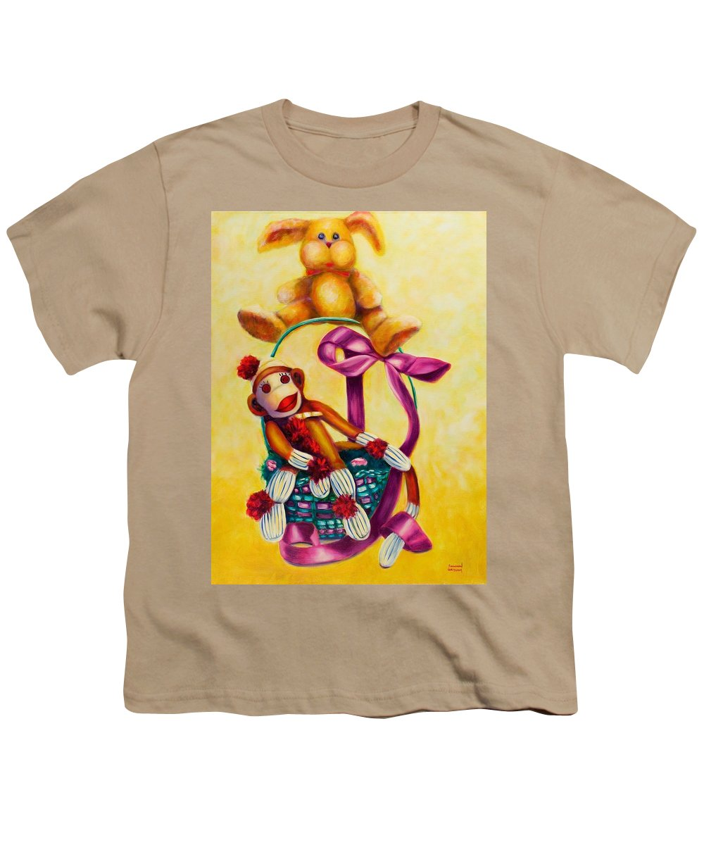 Easter Youth T-Shirt featuring the painting Easter Made Of Sockies by Shannon Grissom