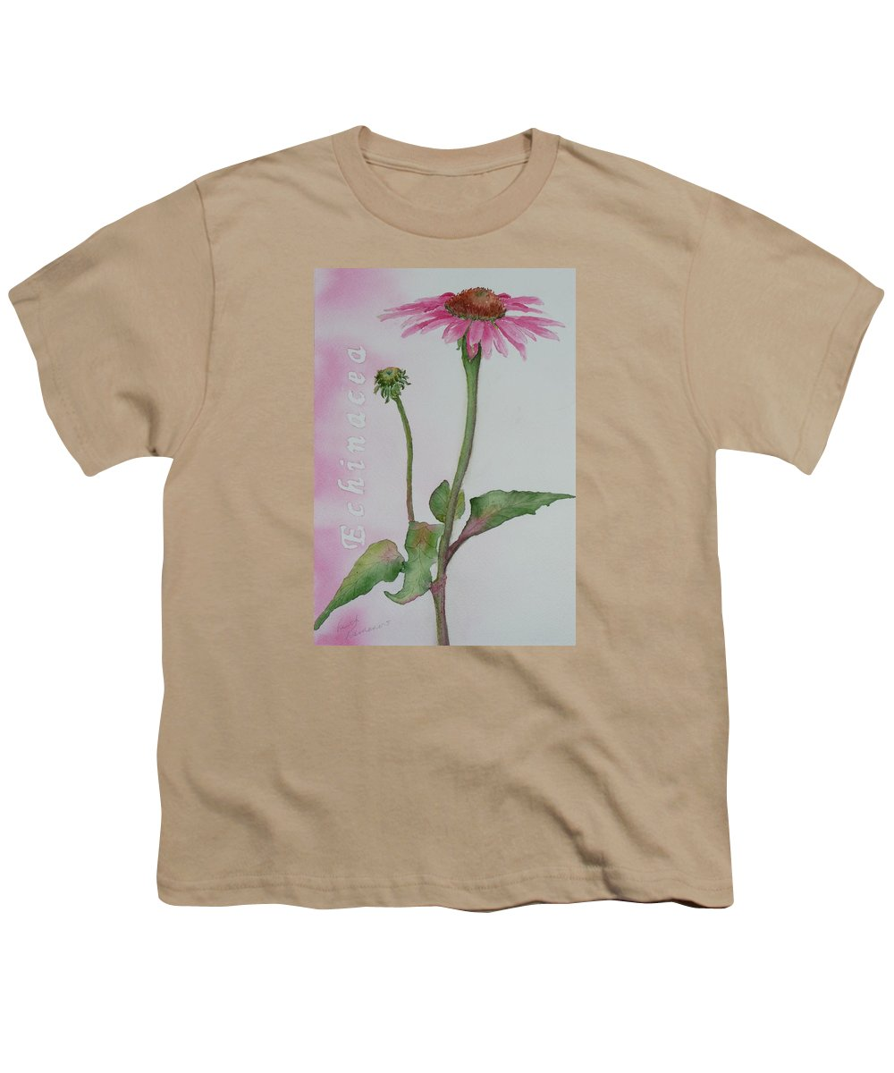 Flower Youth T-Shirt featuring the painting Echinacea by Ruth Kamenev