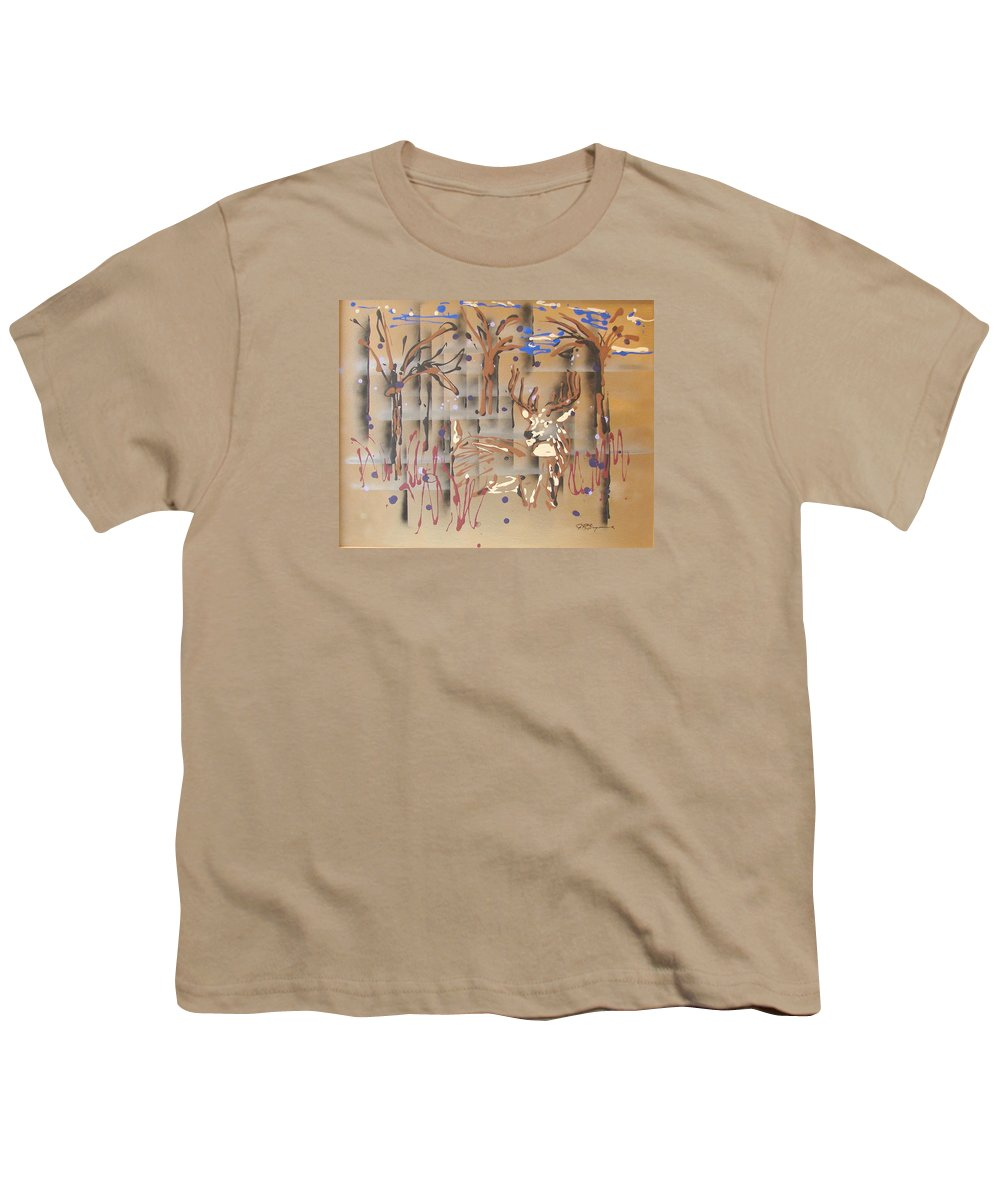 Buck In Tree Line Youth T-Shirt featuring the painting Everwatchful by J R Seymour