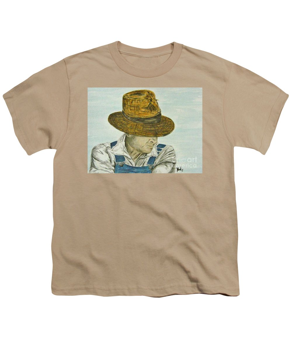 Portrait Youth T-Shirt featuring the painting Farmer Ted by Regan J Smith