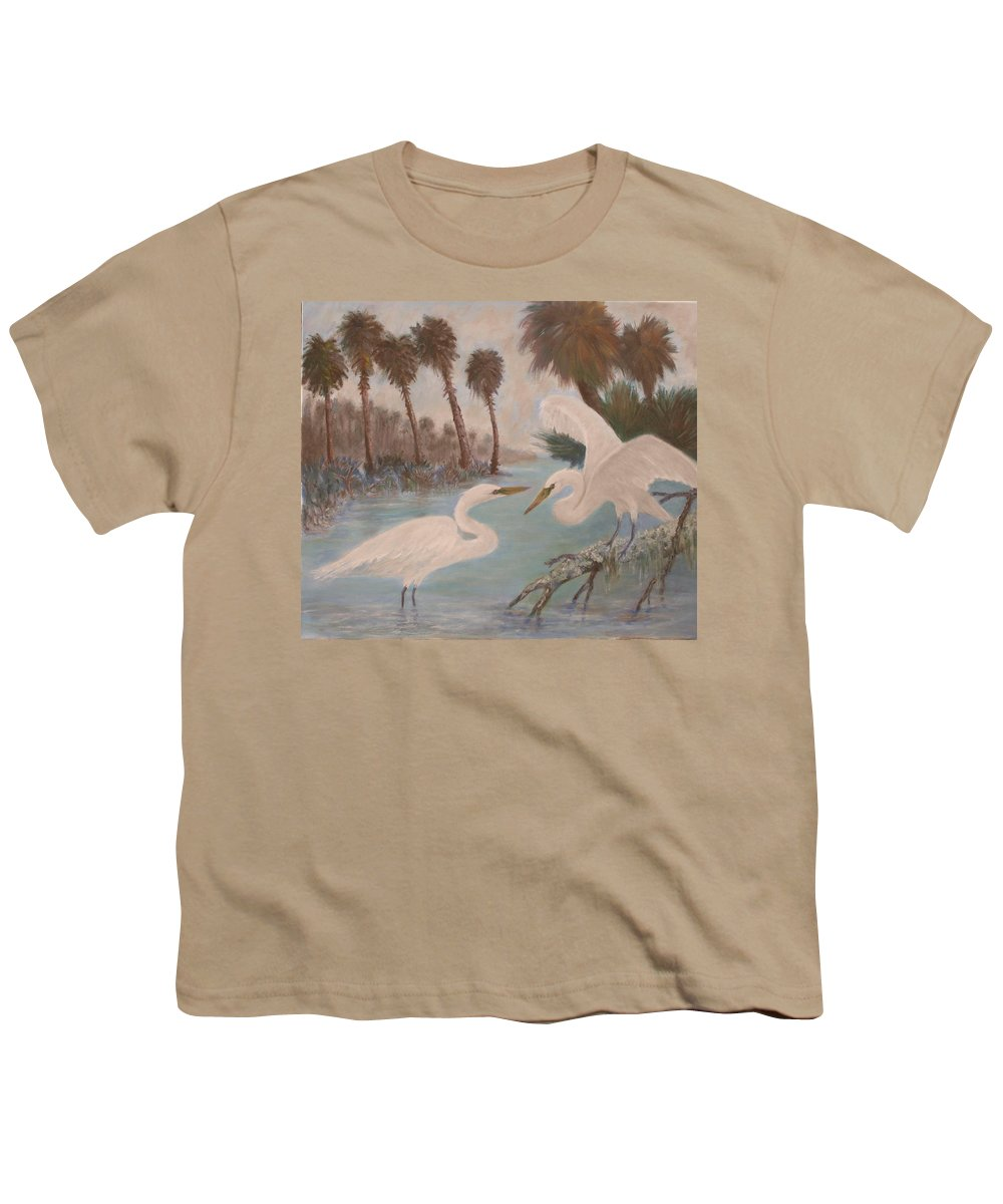 Egret Youth T-Shirt featuring the painting First Meeting by Ben Kiger