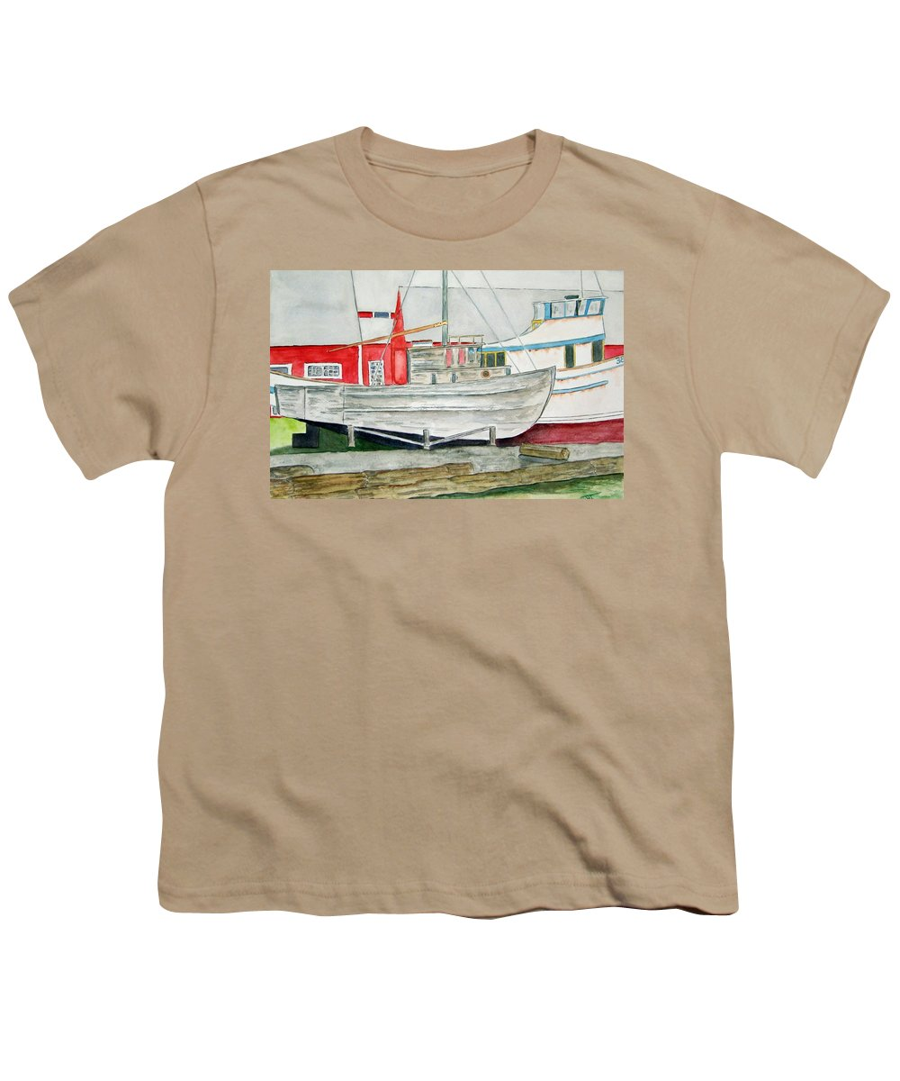 Alaska Art Youth T-Shirt featuring the painting Fish Out Of Water by Larry Wright