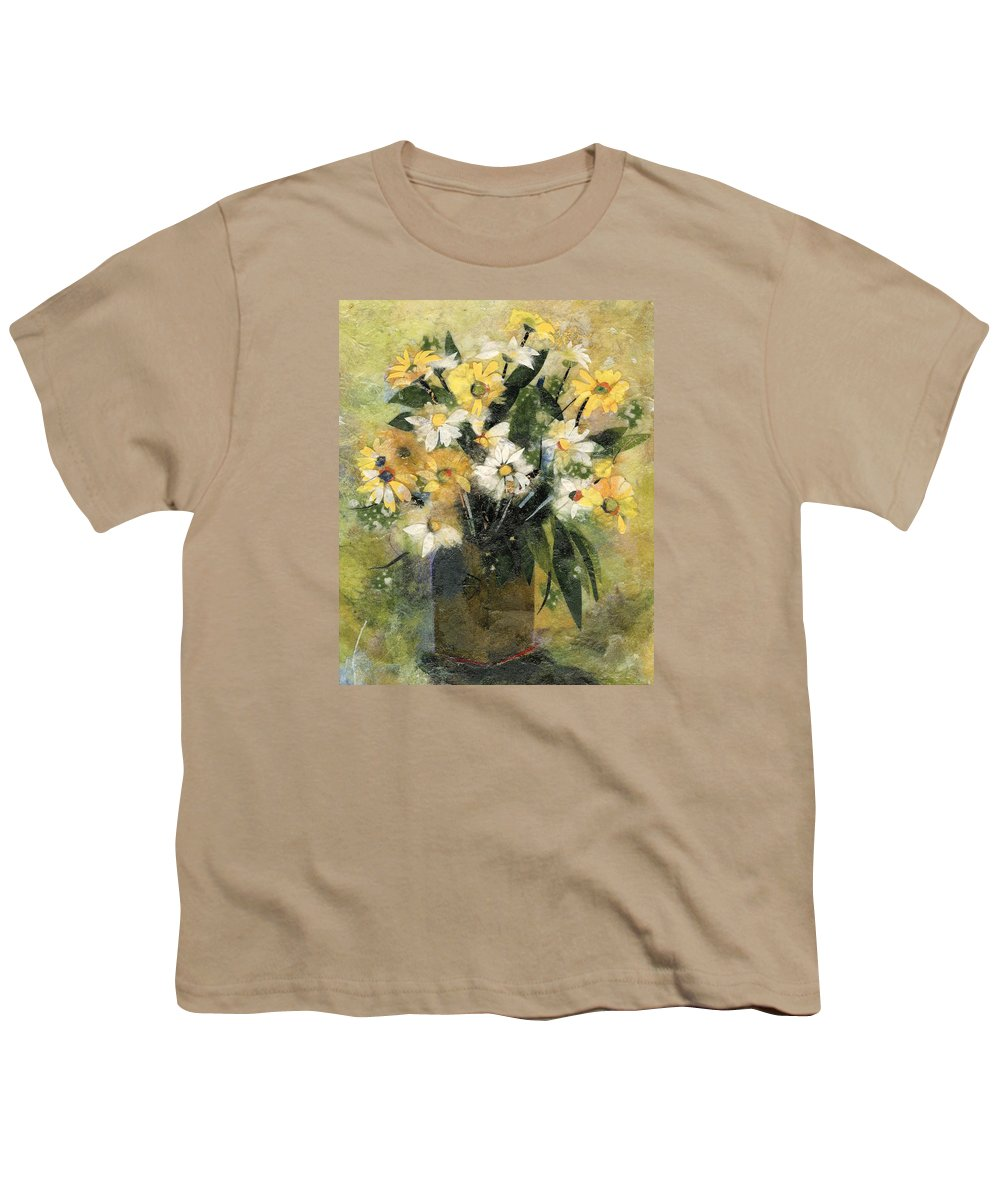 Limited Edition Prints Youth T-Shirt featuring the painting Flowers In White And Yellow by Nira Schwartz