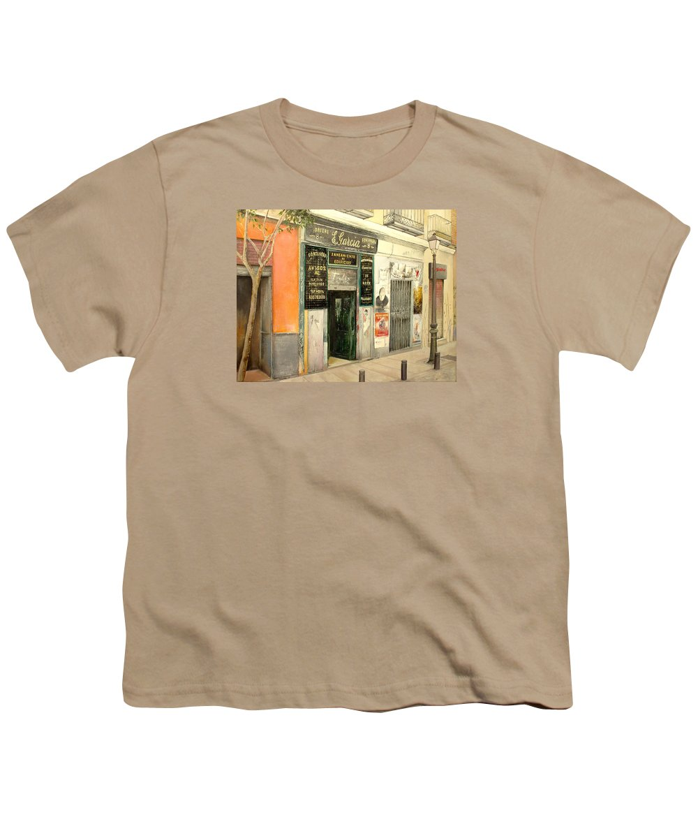 Streetscene Youth T-Shirt featuring the painting Fontaneria E.garcia by Tomas Castano