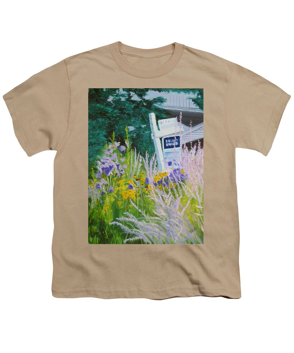 Landscape Youth T-Shirt featuring the painting For Sale - A Patch Of Paradise by Lea Novak