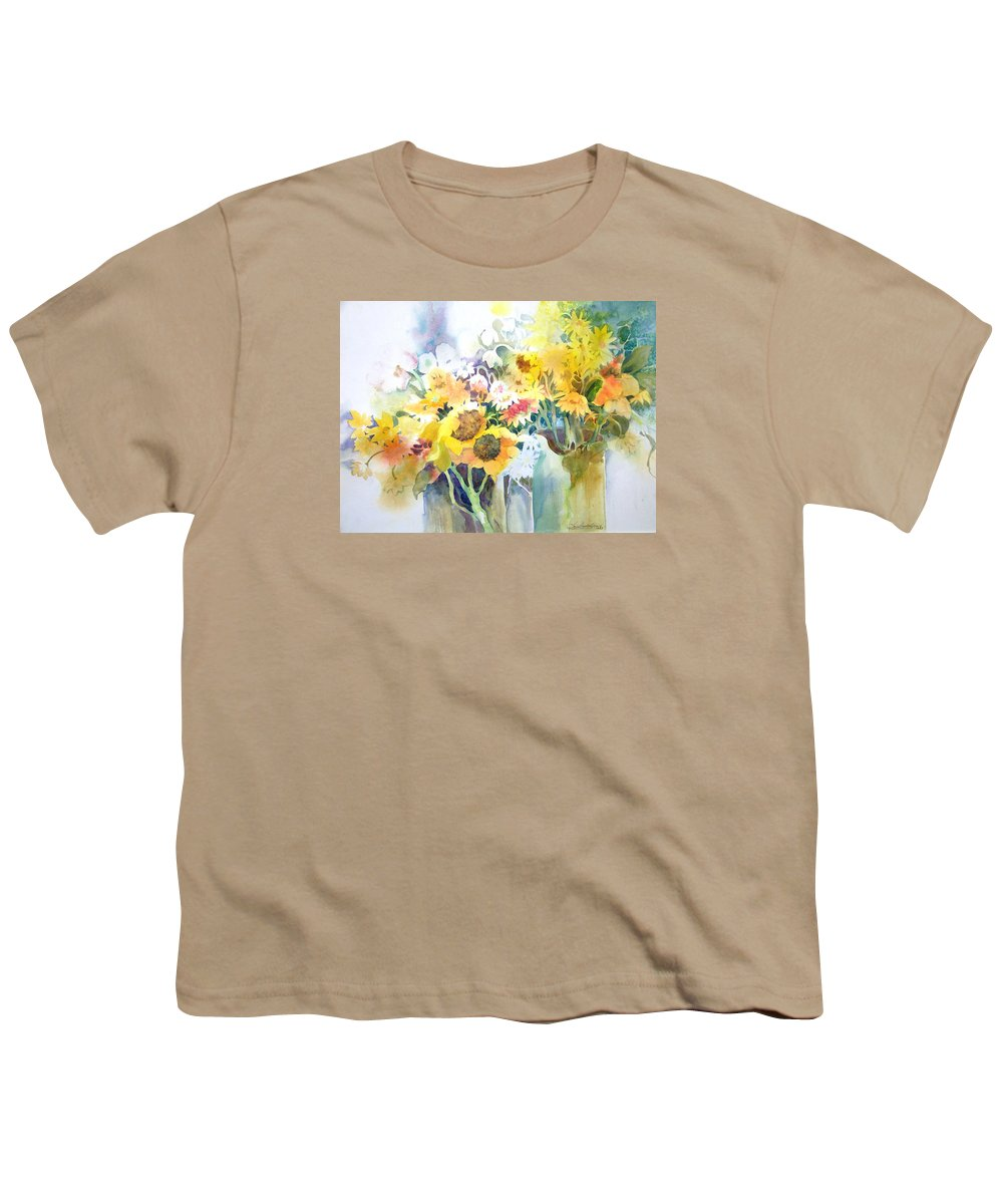 Contemporary;watercolor;sunflowers;daisies;floral; Youth T-Shirt featuring the painting Fresh-picked by Lois Mountz