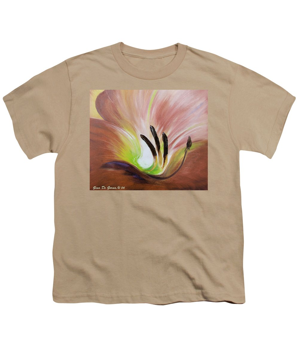 Brown Youth T-Shirt featuring the painting From The Heart Of A Flower Brown 3 by Gina De Gorna