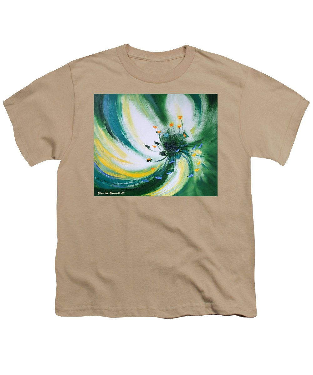 Green Youth T-Shirt featuring the painting From The Heart Of A Flower Green by Gina De Gorna