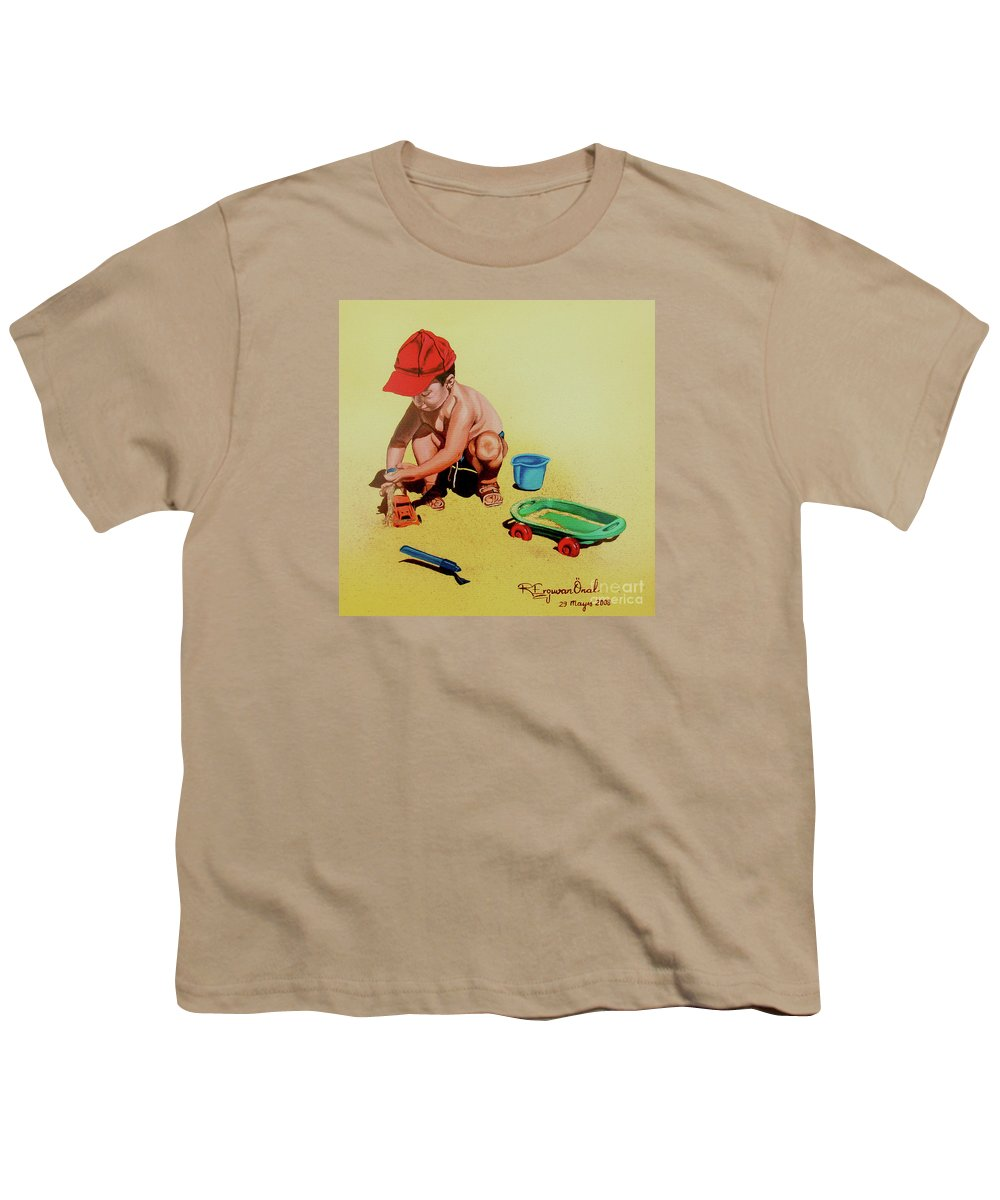 Beach Youth T-Shirt featuring the painting Game At The Beach - Juego En La Playa by Rezzan Erguvan-Onal