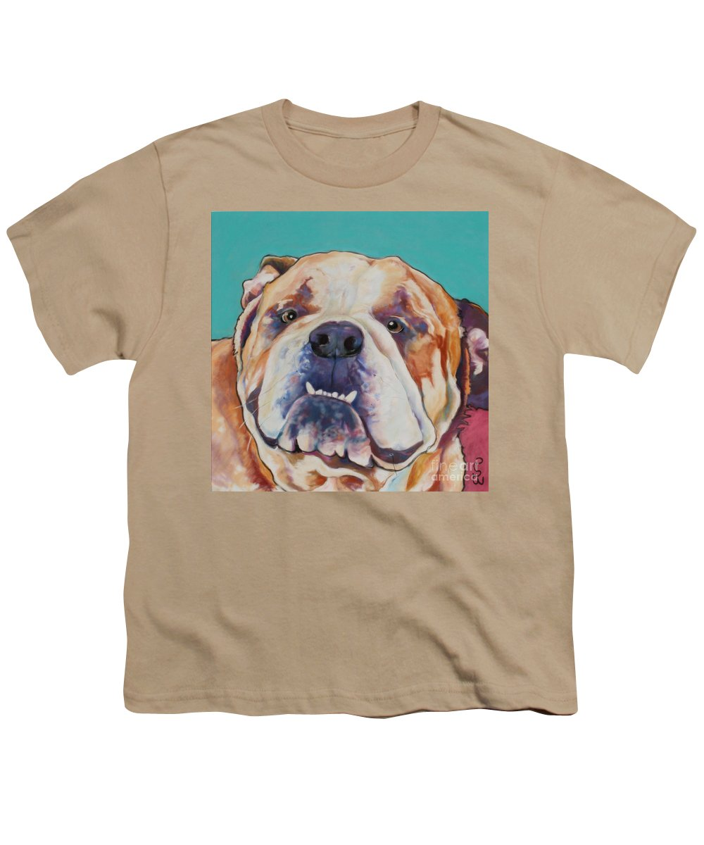 Pat Saunders-white Pet Portraits Youth T-Shirt featuring the painting Game Face  by Pat Saunders-White