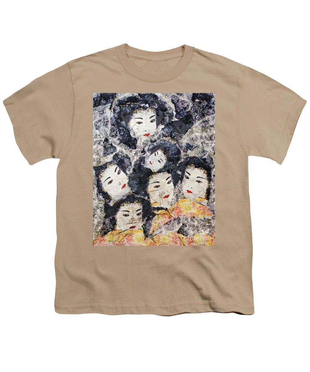 Geisha Youth T-Shirt featuring the mixed media Geisha by Shelley Jones
