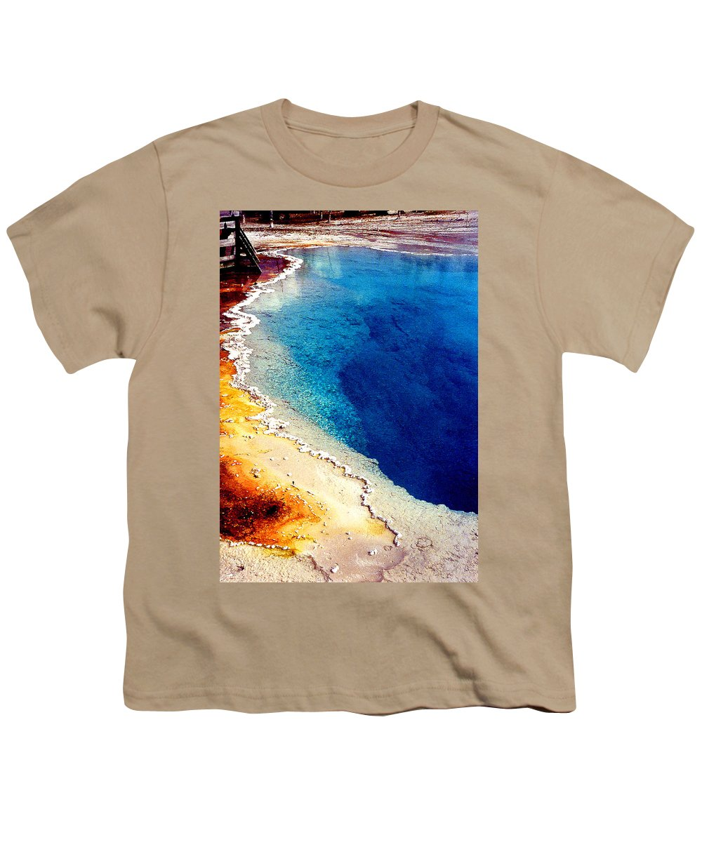 Geyser Youth T-Shirt featuring the photograph Geyser Basin by Nancy Mueller