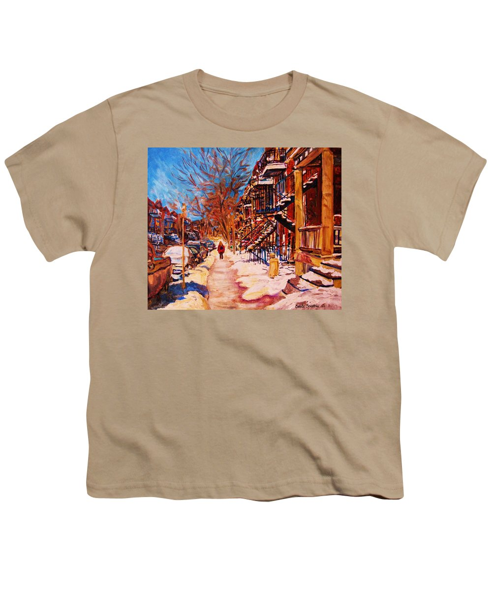 Children Youth T-Shirt featuring the painting Girl In The Red Jacket by Carole Spandau