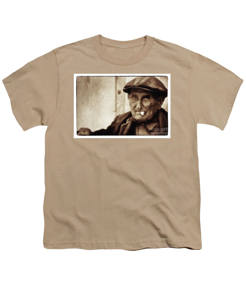 Man Youth T-Shirt featuring the photograph Grandpa, Catalonia 1976 by Michael Ziegler