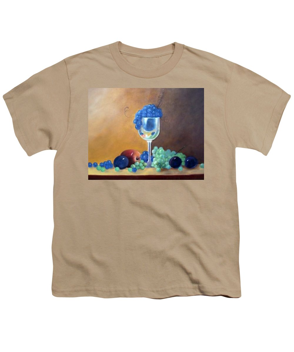 Wine Galsses With Grapes Youth T-Shirt featuring the painting Grapes And Plums by Susan Dehlinger