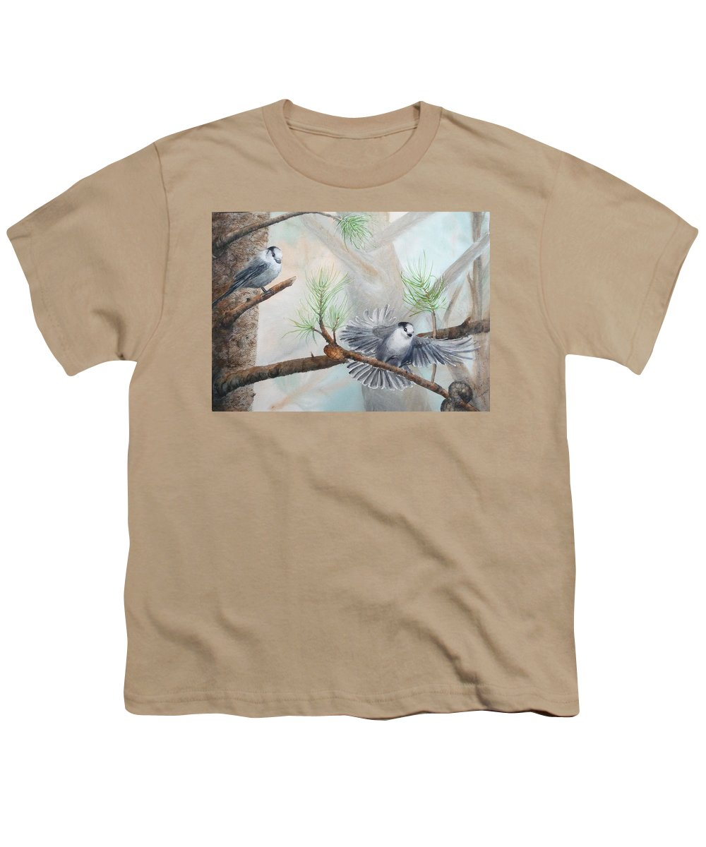 Grey Jay Youth T-Shirt featuring the painting Grey Jays In A Jack Pine by Ruth Kamenev