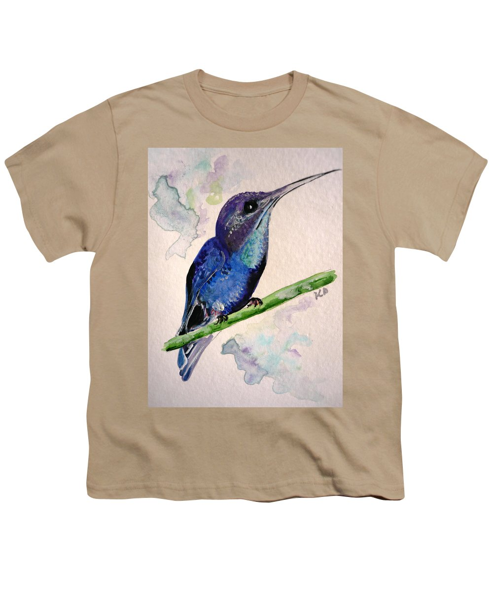 Hummingbird Painting Bird Painting Tropical Caribbean Painting Watercolor Painting Youth T-Shirt featuring the painting hHUMMINGBIRD 2  by Karin Dawn Kelshall- Best