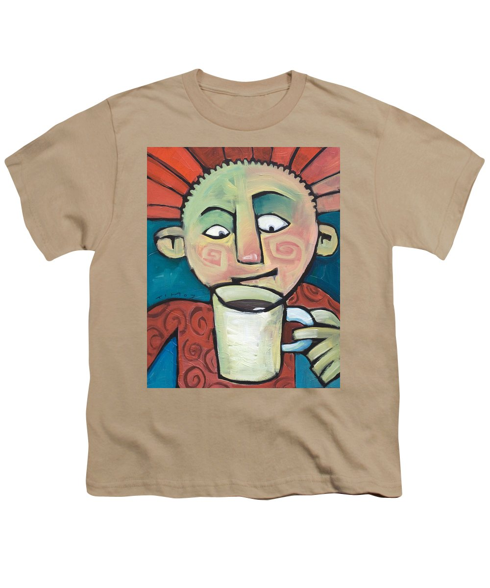 Smile Youth T-Shirt featuring the painting His Coffee Spoke To Him by Tim Nyberg