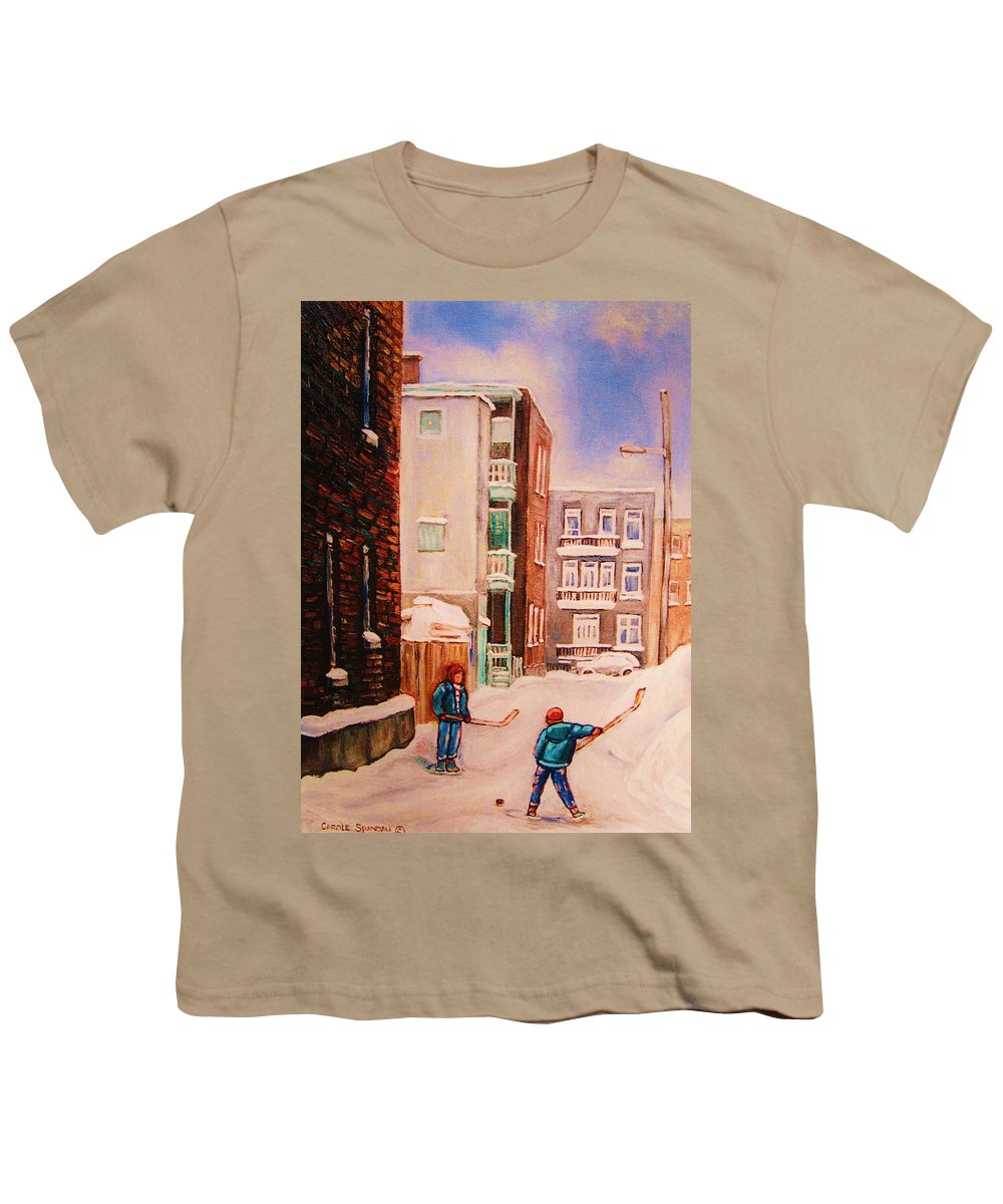 Hockey Youth T-Shirt featuring the painting Hockey Practice by Carole Spandau