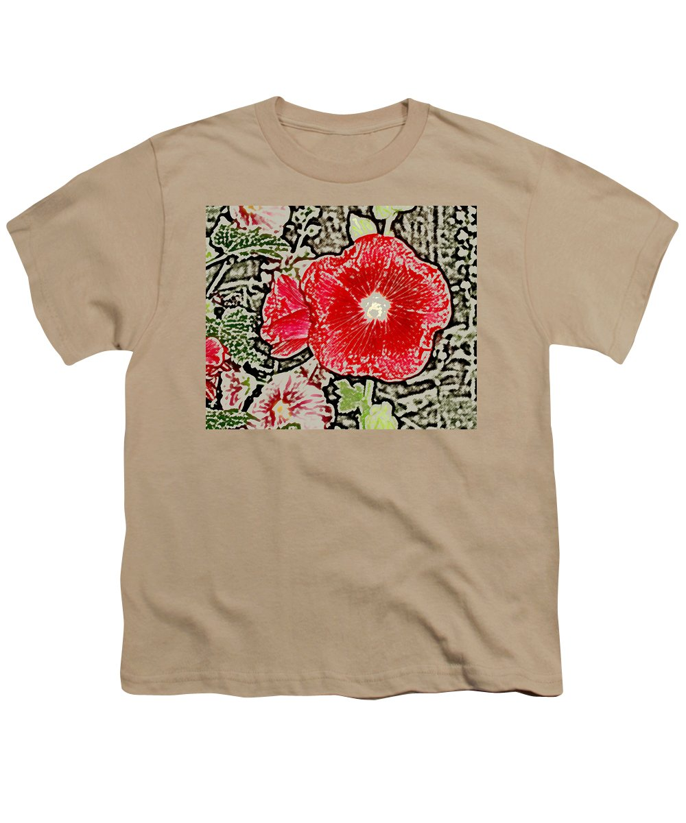 Flower Youth T-Shirt featuring the photograph Hollyhock by Wayne Potrafka