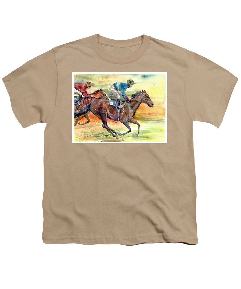 Horse Youth T-Shirt featuring the painting Horse Races by Suzann Sines