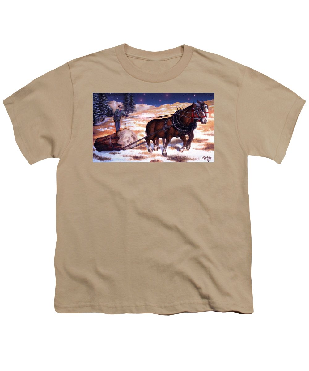 Horse Youth T-Shirt featuring the painting Horses Pulling Log by Curtiss Shaffer