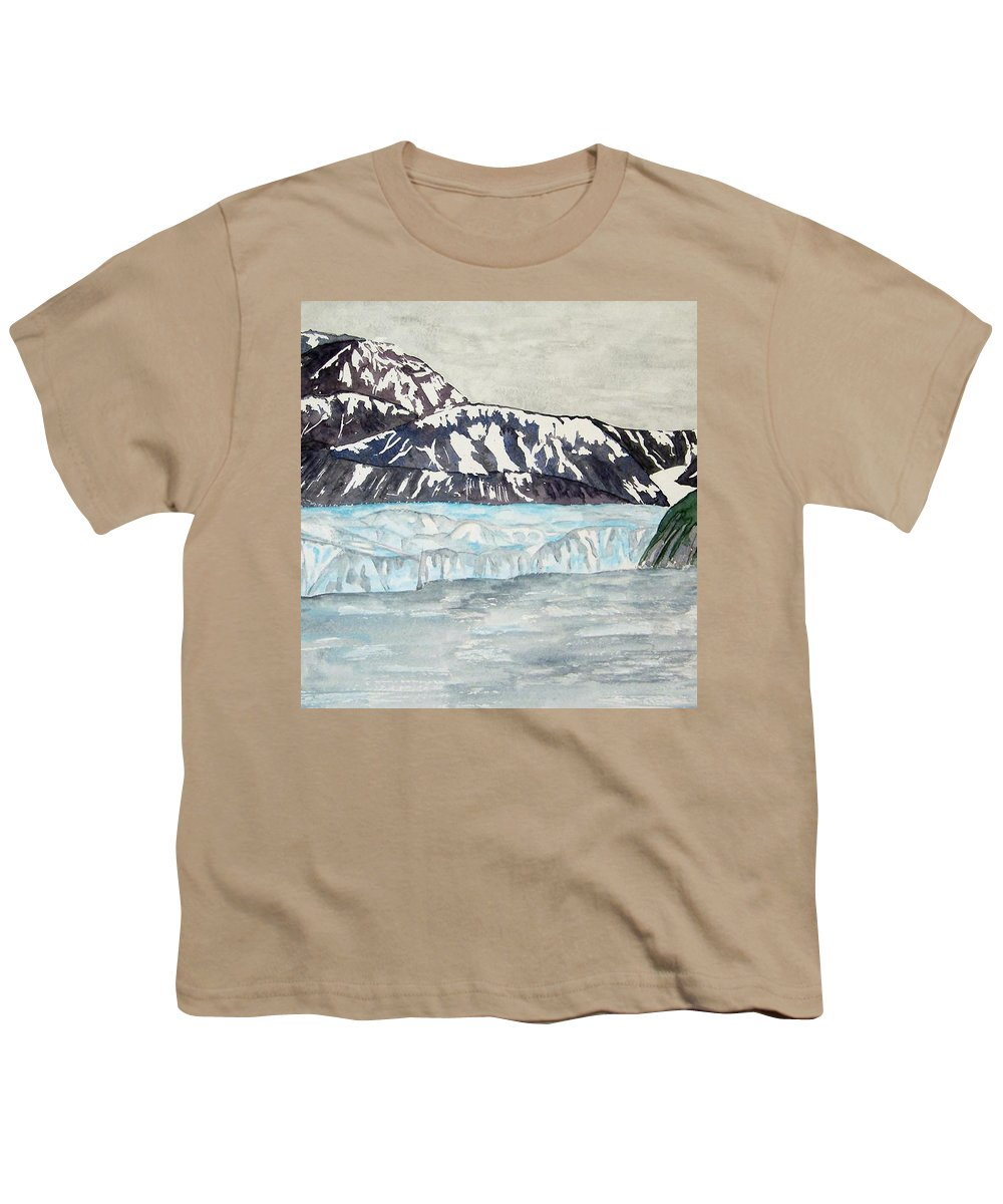 Glacier Youth T-Shirt featuring the painting Hubbard Glacier In July by Larry Wright