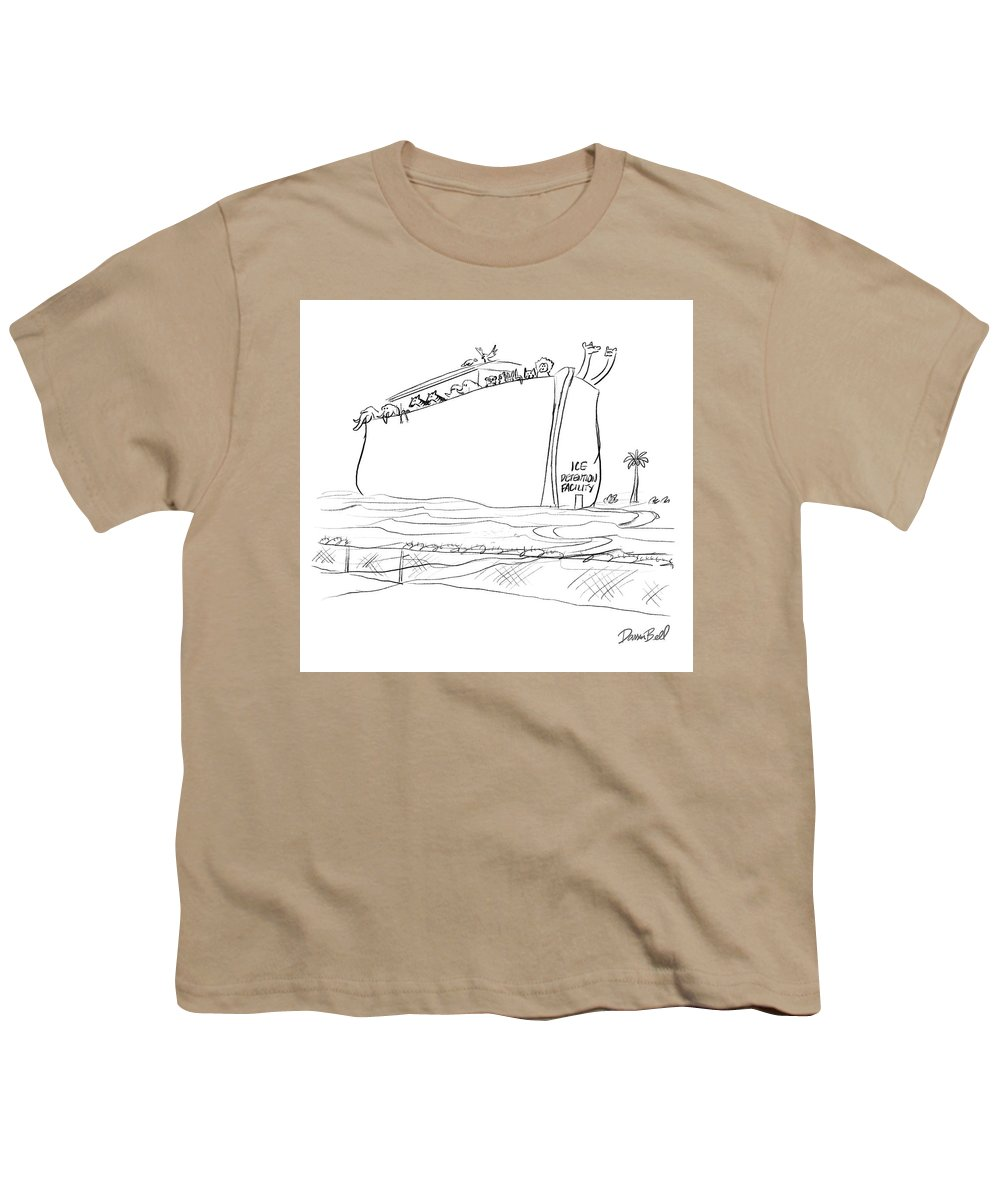 Ice Detention Facility Youth T-Shirt featuring the drawing Ice Detention Facility by Darrin Bell