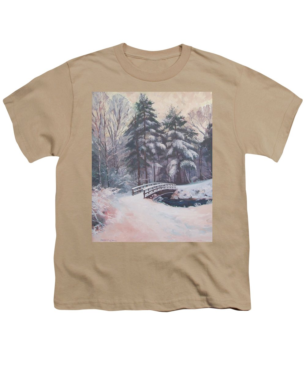 Landscape Youth T-Shirt featuring the painting Icy Stream by Dianne Panarelli Miller