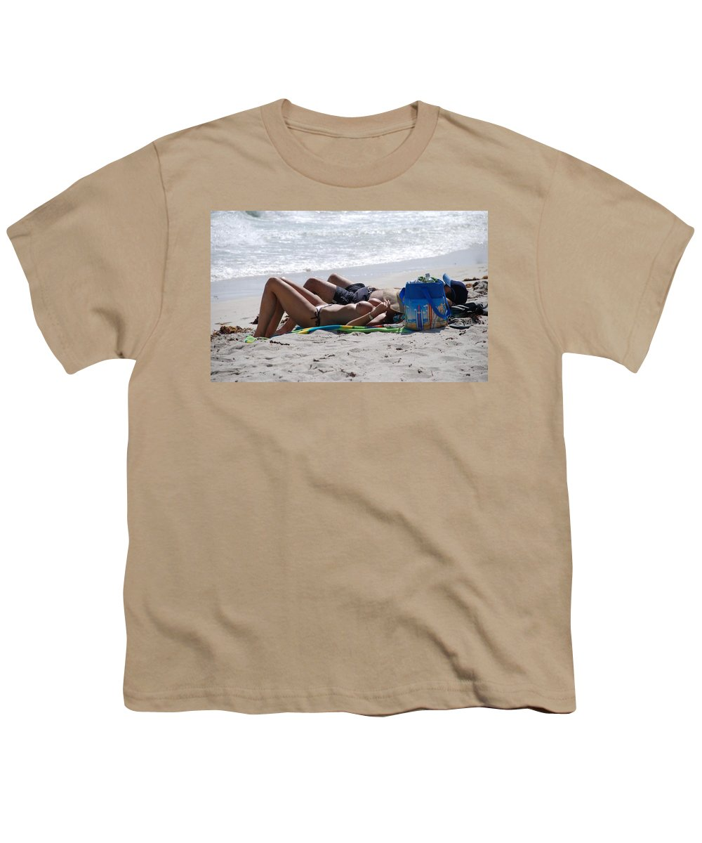 Nude Youth T-Shirt featuring the photograph In The Sand At Paradise Beach by Rob Hans