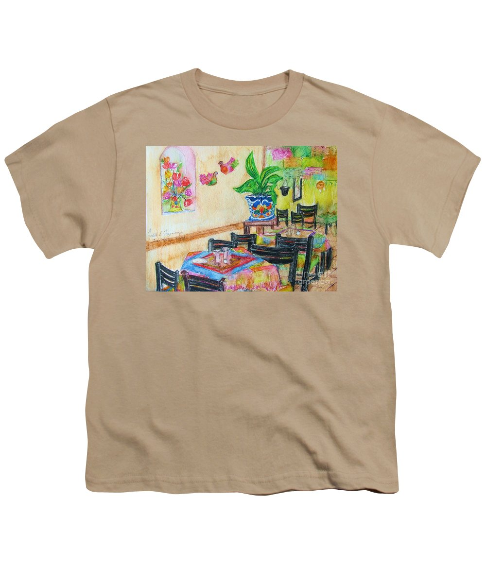 Watercolor Youth T-Shirt featuring the painting Indoor Cafe - Gifted by Judith Espinoza