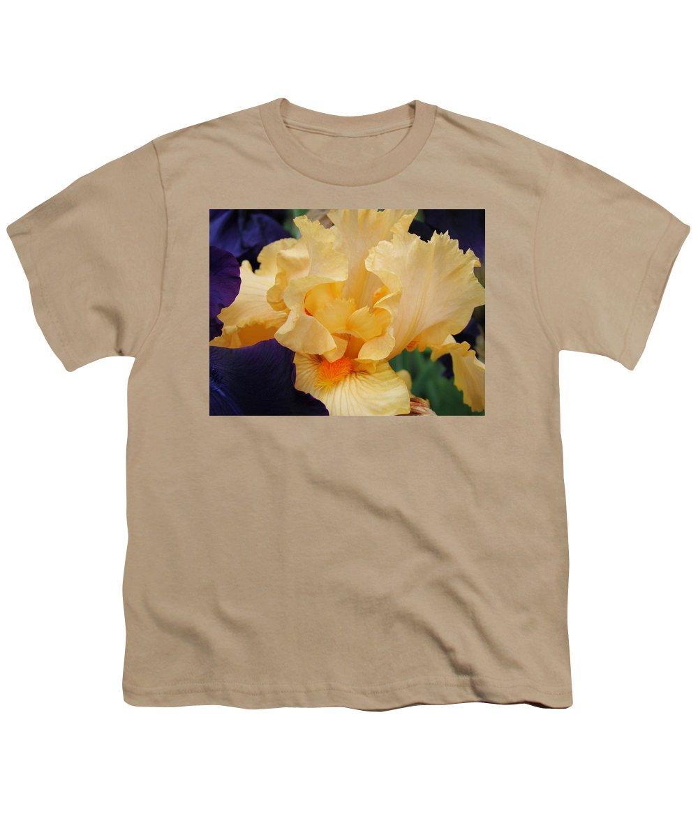 �irises Artwork� Youth T-Shirt featuring the photograph Irises Art Prints Peach Iris Flowers Artwork Floral Botanical Art Baslee Troutman by Baslee Troutman