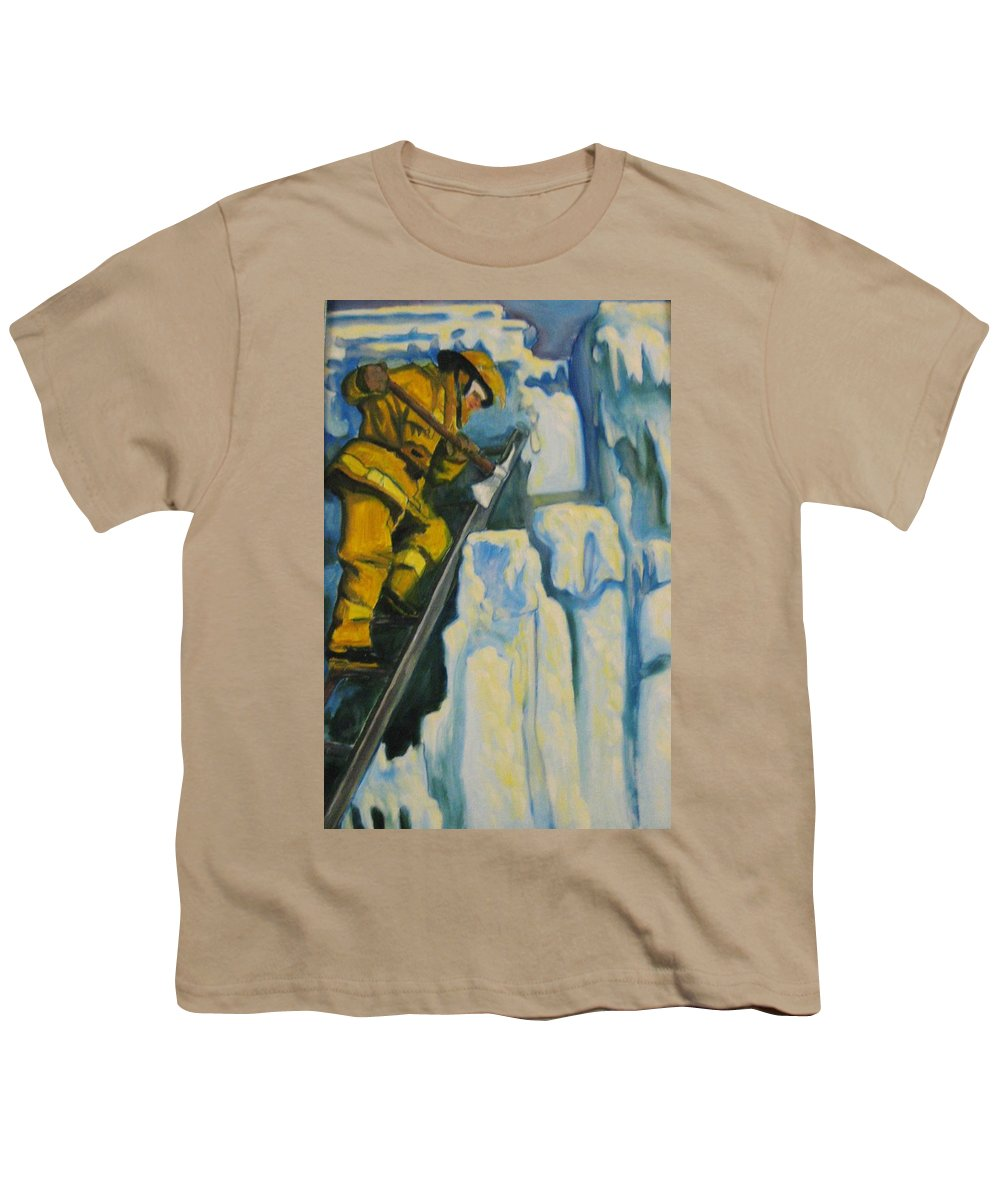 Firefighters Youth T-Shirt featuring the painting Its Not Over Till Its Over by John Malone
