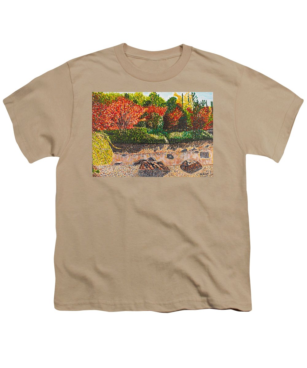 Landscape Youth T-Shirt featuring the painting Japanese Maple Trees At The Creek by Valerie Ornstein