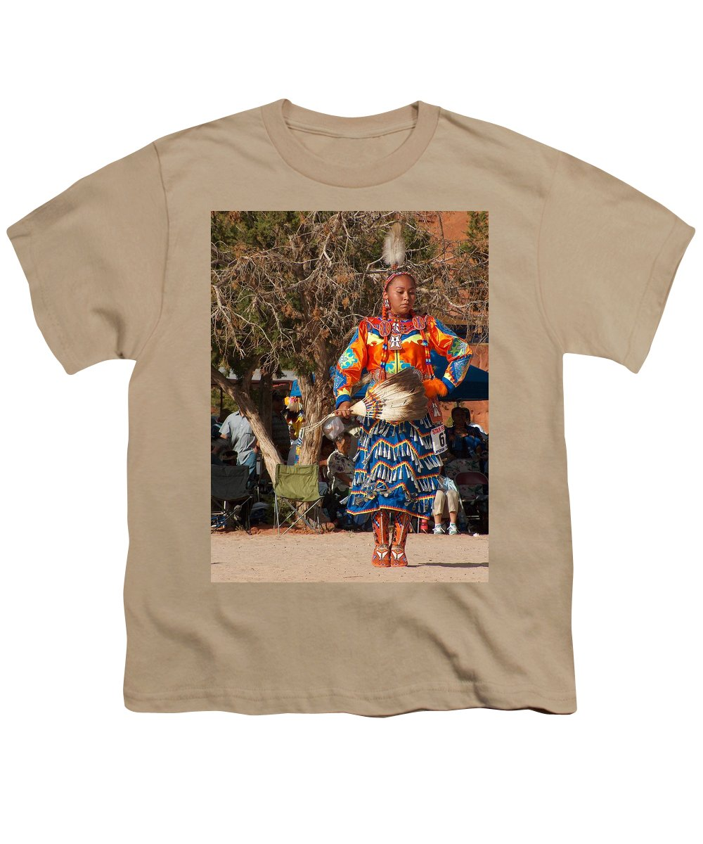 Pow-wow Dancer Youth T-Shirt featuring the photograph Jingle Dress Dancer At Star Feather Pow-wow by Tim McCarthy