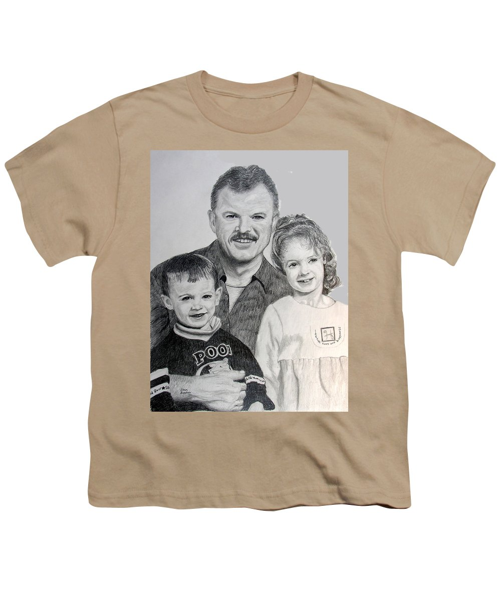 Portrait Youth T-Shirt featuring the drawing John Megan And Joey by Stan Hamilton