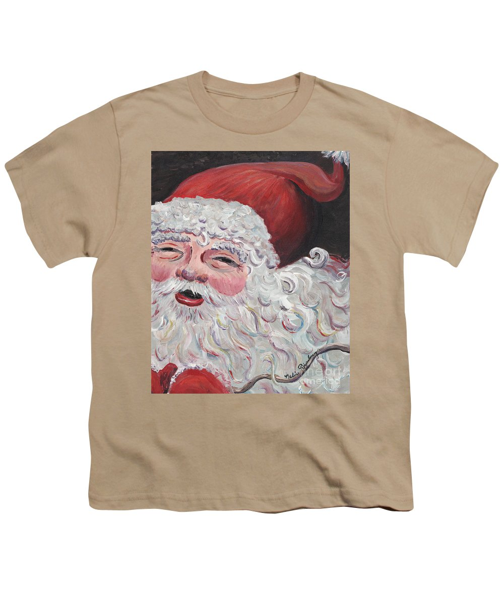 Santa Youth T-Shirt featuring the painting Jolly Santa by Nadine Rippelmeyer