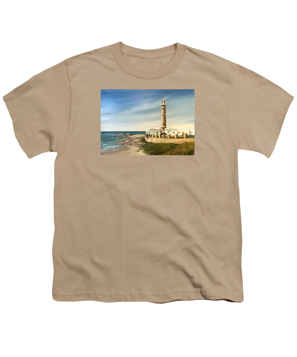 Landscape Seascape Lighthouse Uruguay Beach Sea Water Youth T-Shirt featuring the painting Jose Ignacio Lighthouse Evening by Natalia Tejera