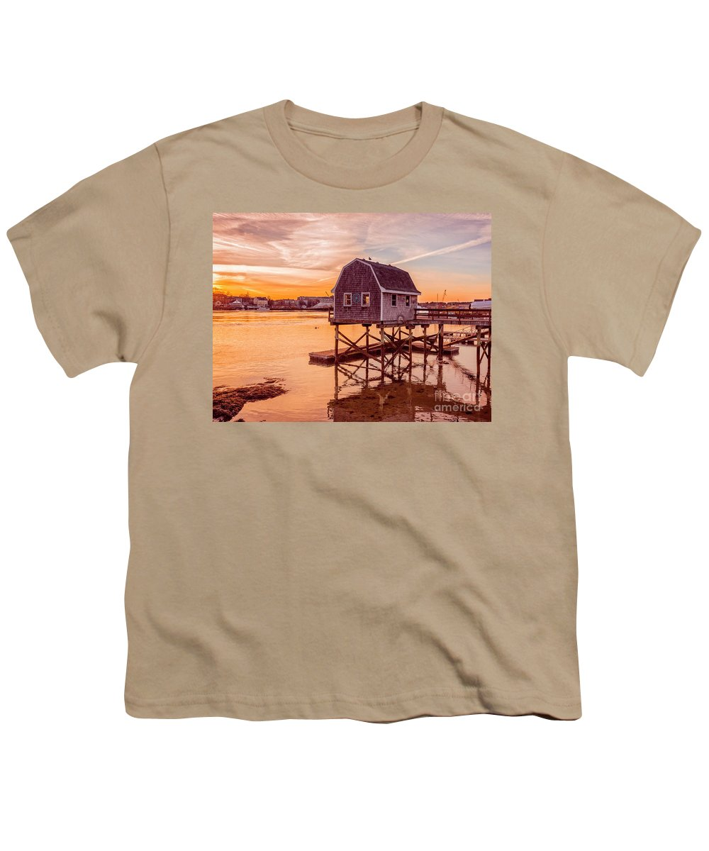 Sunset Youth T-Shirt featuring the photograph Kittery Maine Harbor Sunset by Edward Fielding