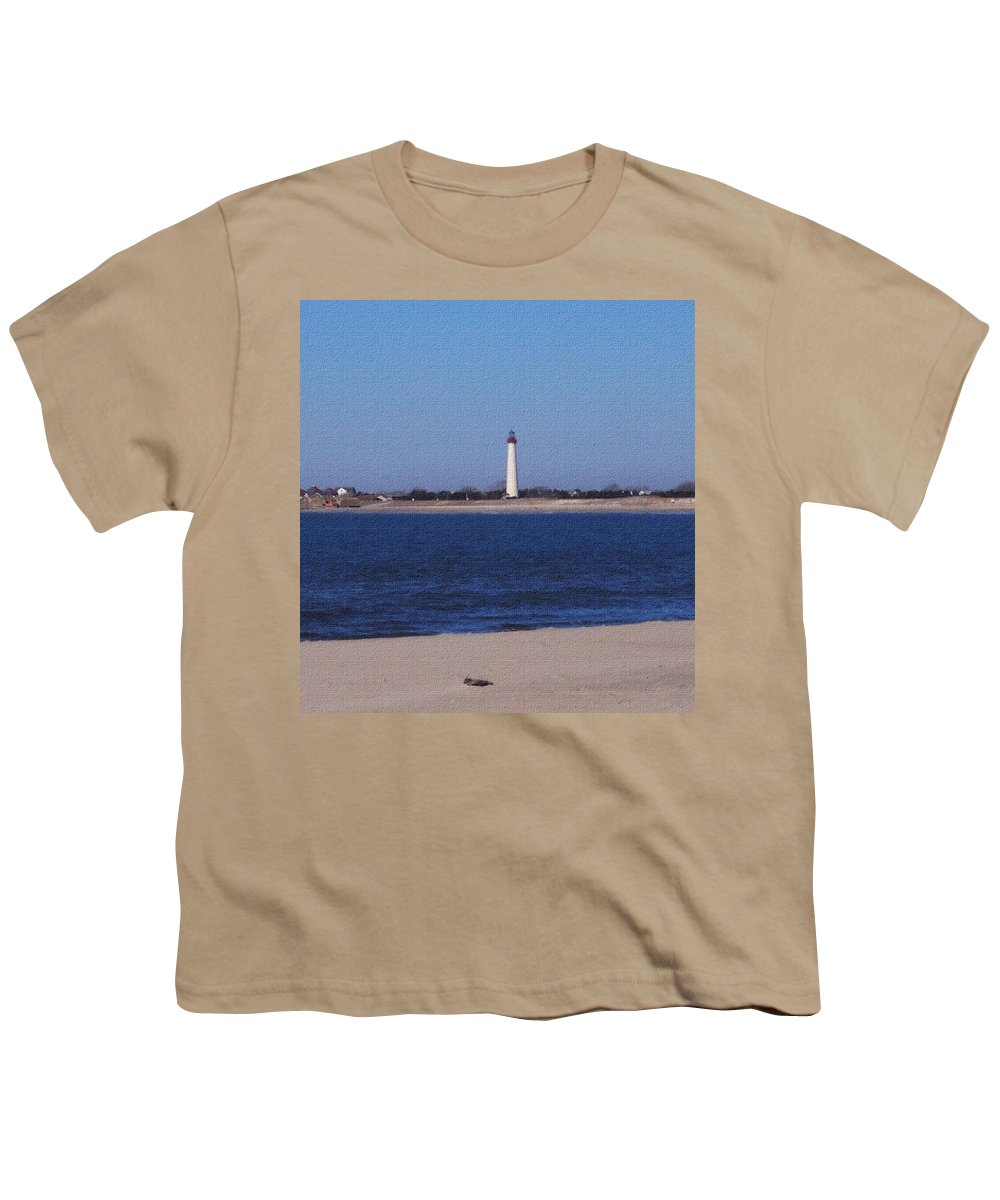 Lighthouse Youth T-Shirt featuring the photograph Lighthouse At The Point by Pharris Art
