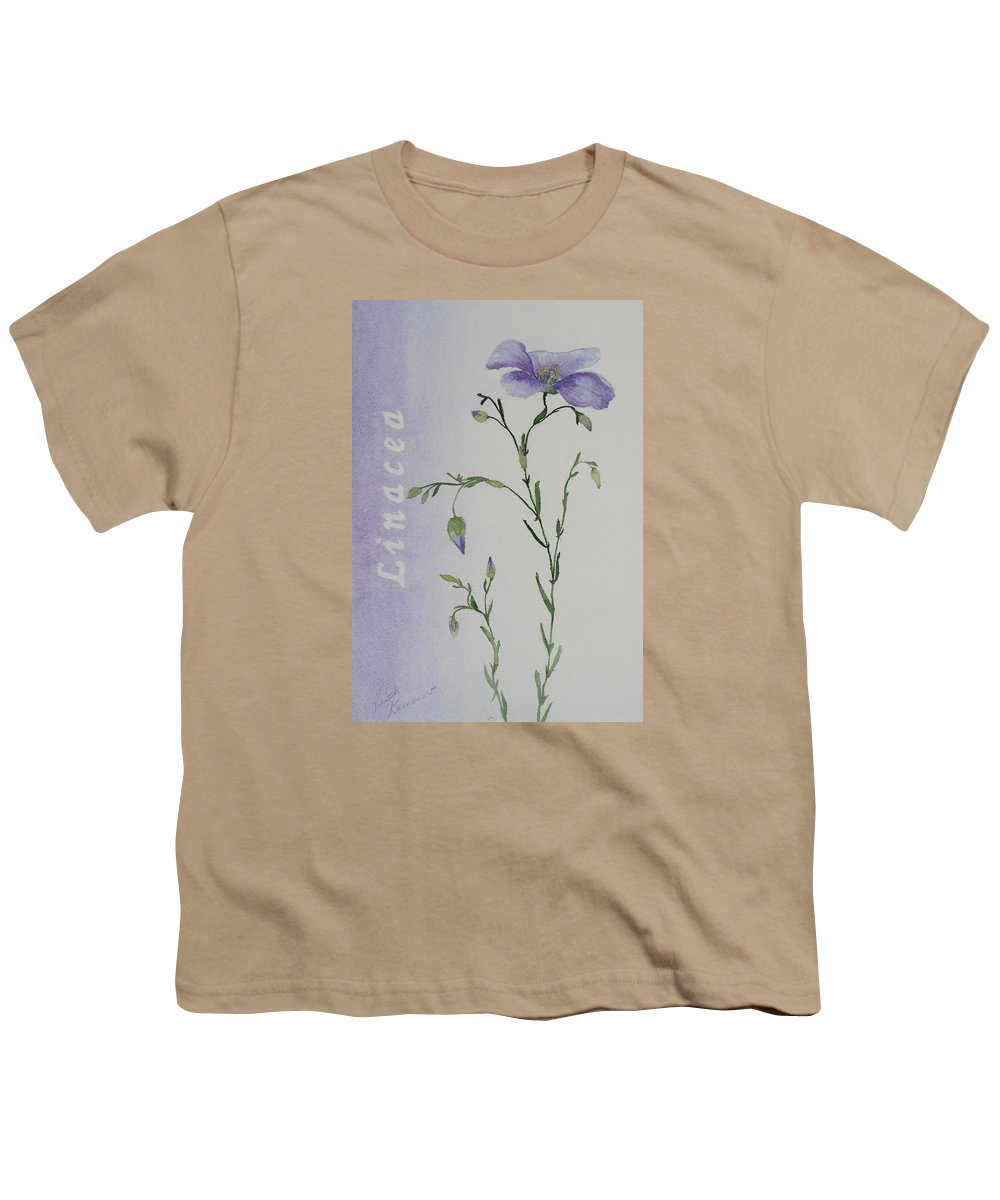 Flower Youth T-Shirt featuring the painting Linacea by Ruth Kamenev