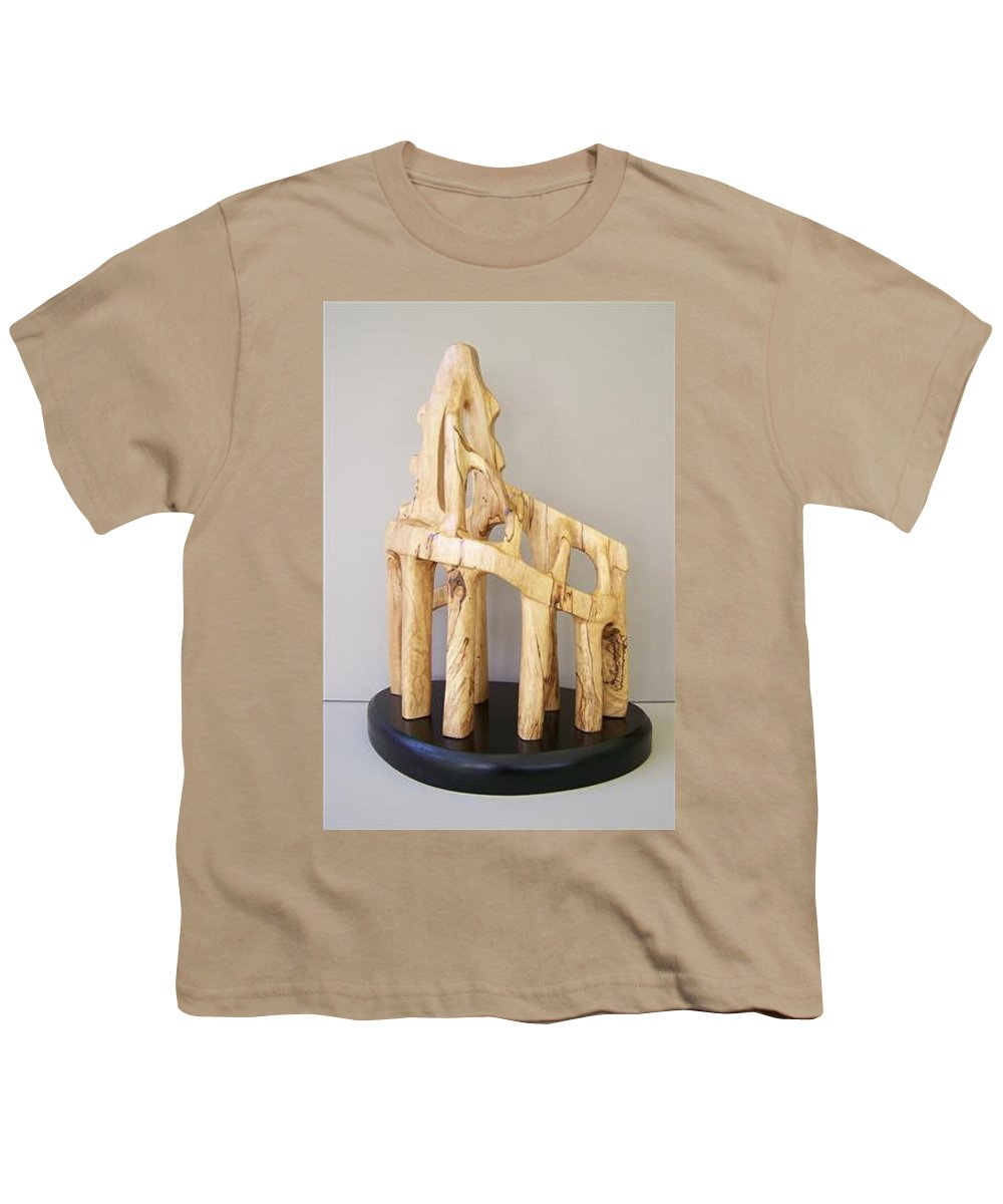 Wood-carving-sculpture-abstract- Youth T-Shirt featuring the sculpture Lost Glory by Norbert Bauwens