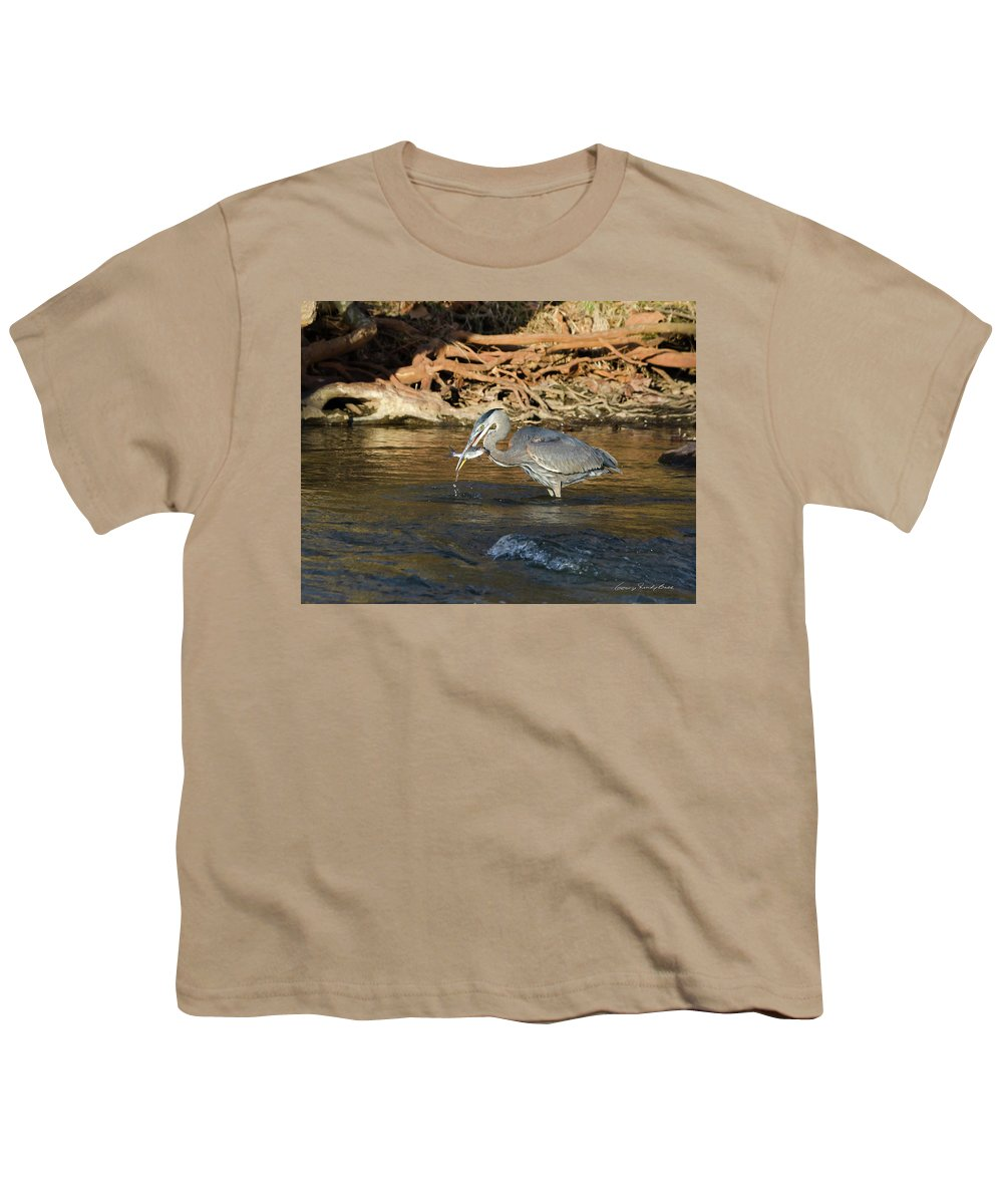 Heron Youth T-Shirt featuring the photograph Lunch On The Neuse River by George Randy Bass