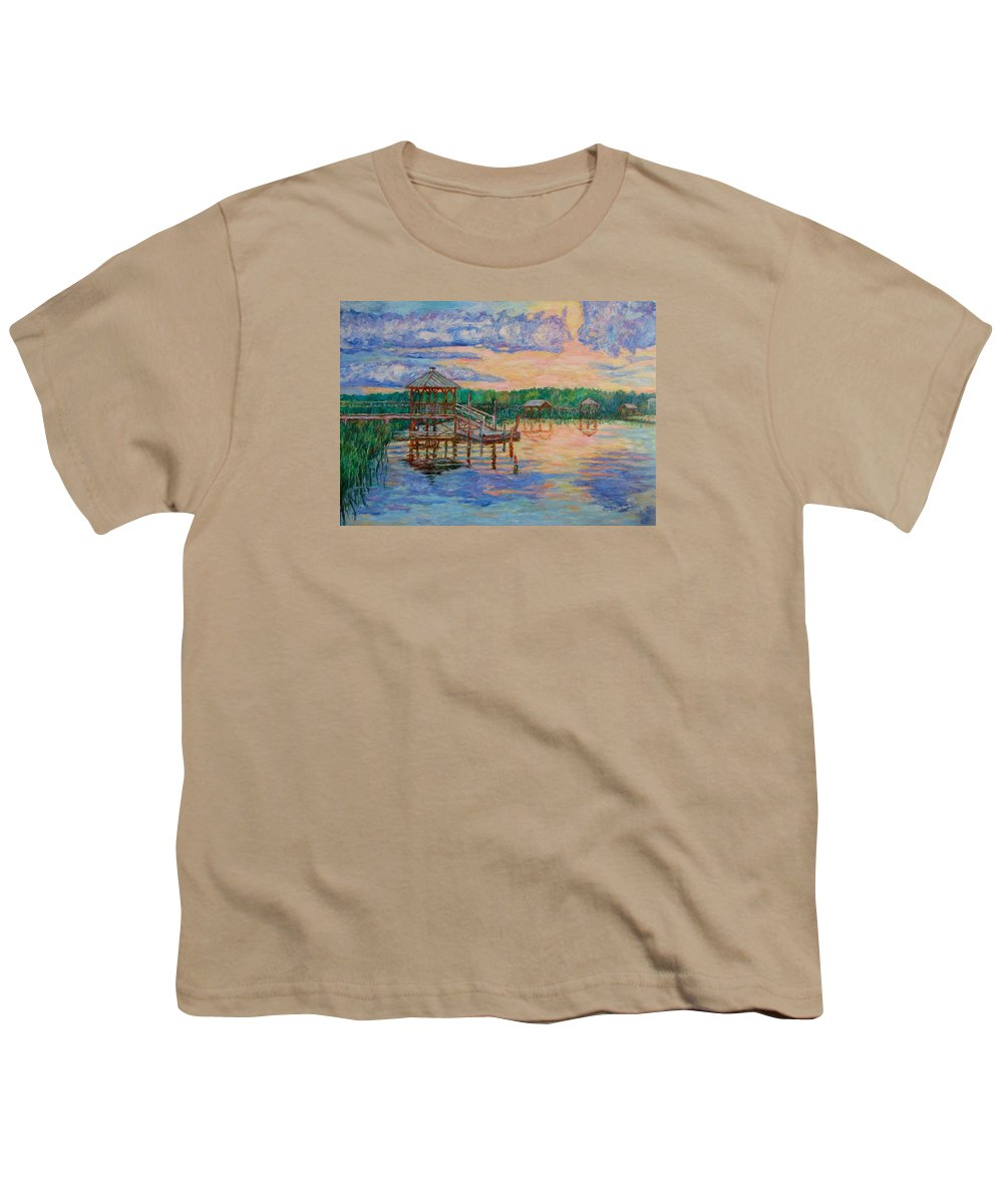 Landscape Youth T-Shirt featuring the painting Marsh View At Pawleys Island by Kendall Kessler