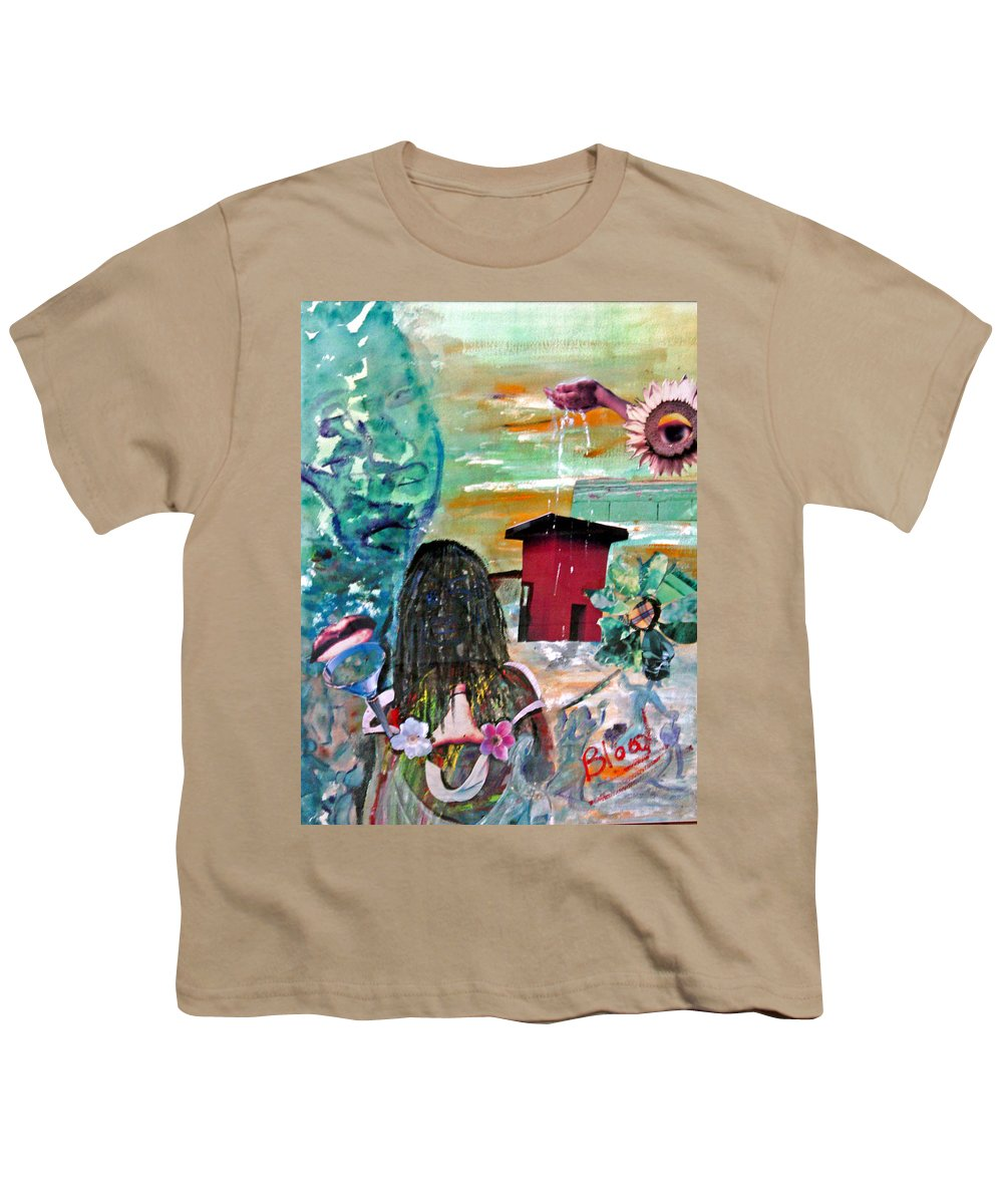 Water Youth T-Shirt featuring the painting Masks Of Life by Peggy Blood