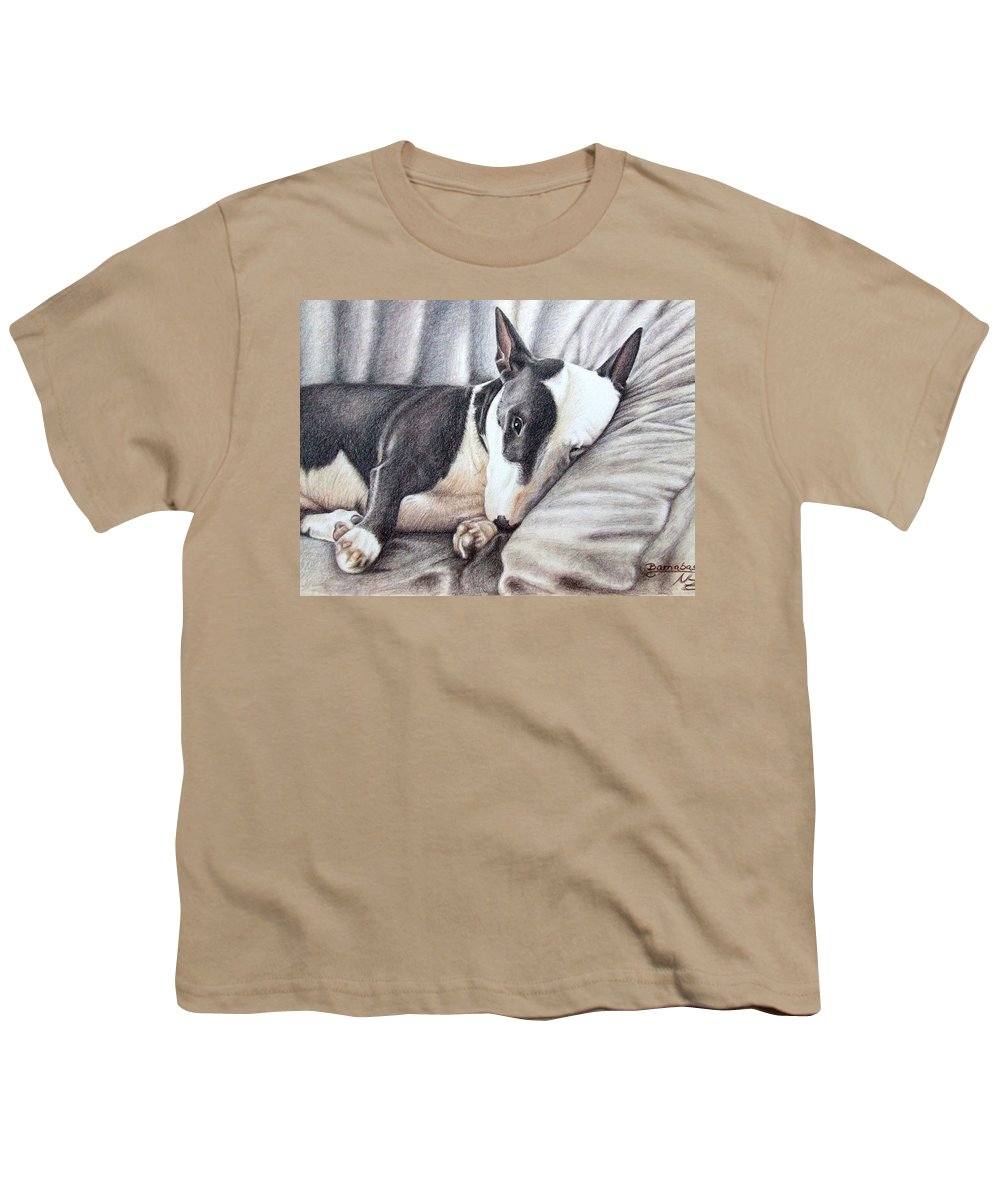 Dog Youth T-Shirt featuring the drawing Mini Bulldog Terrier by Nicole Zeug