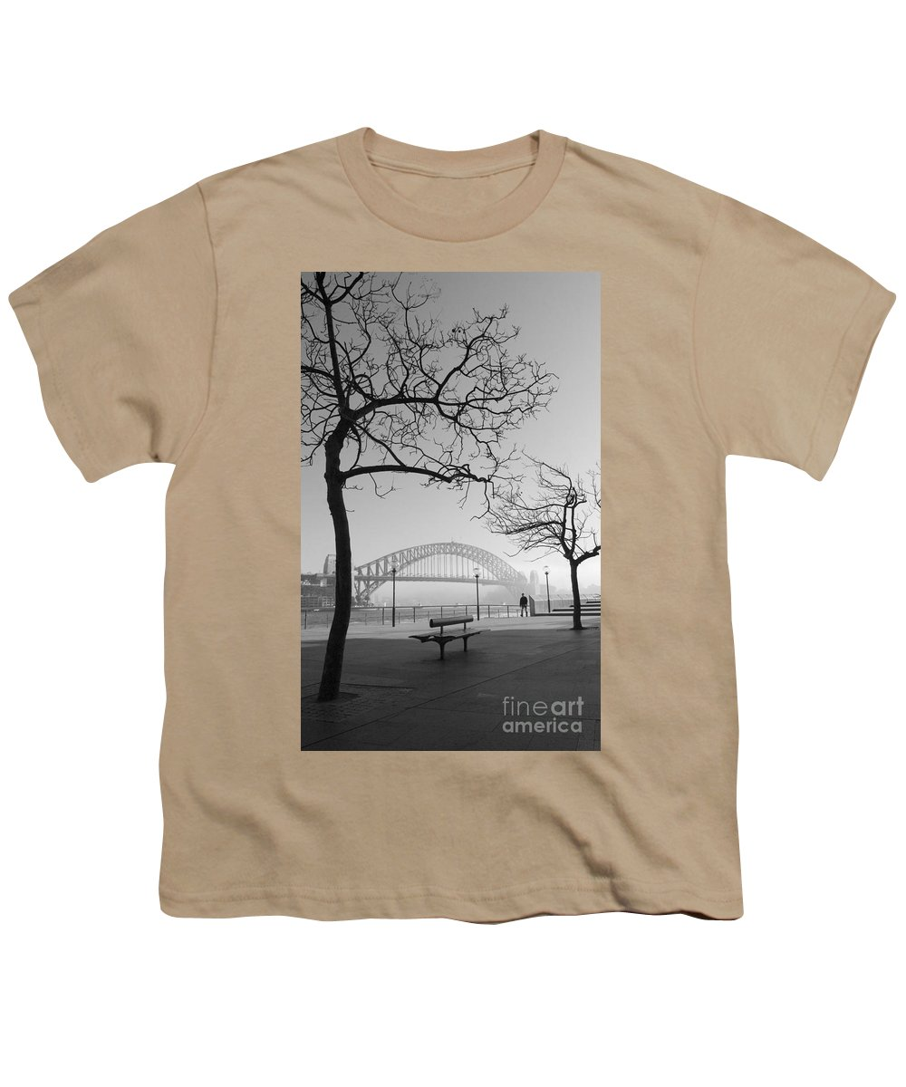 Sydney Harbour Bridge Mist Australia Youth T-Shirt featuring the photograph Misty Sydney Morning by Avalon Fine Art Photography