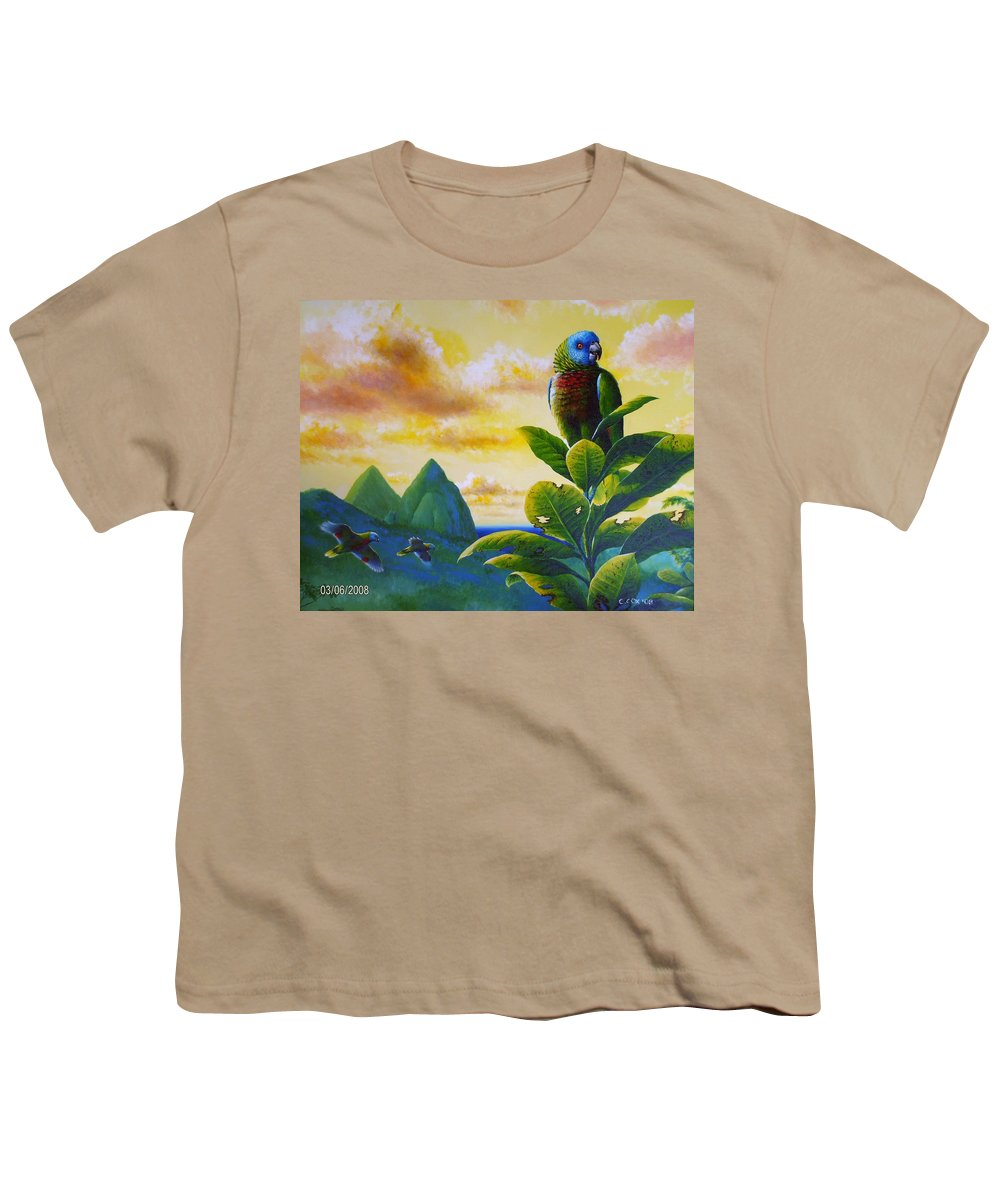 Chris Cox Youth T-Shirt featuring the painting Morning Glory - St. Lucia Parrots by Christopher Cox
