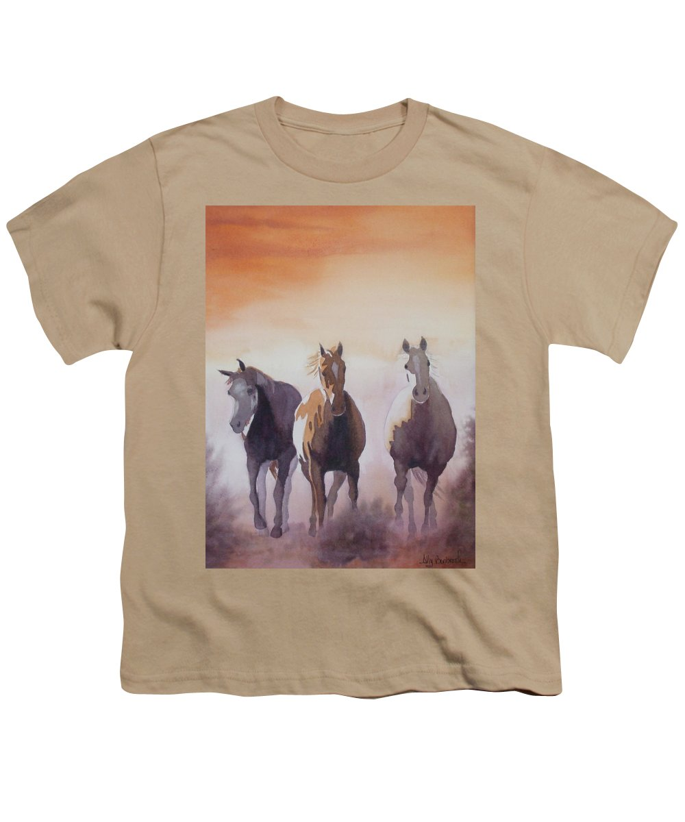 Horse Youth T-Shirt featuring the painting Mustangs Out Of The Fire by Ally Benbrook
